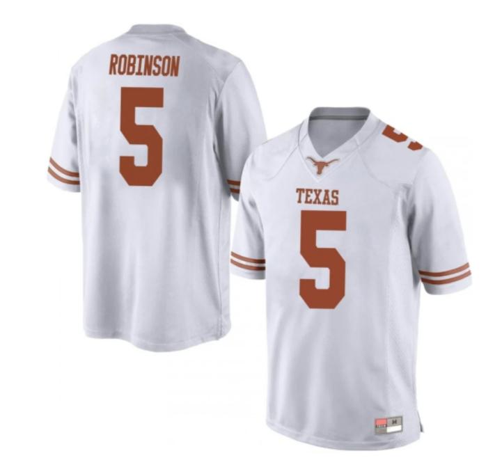Texas Longhorns #5 Bijan Robinson College Football Jersey White