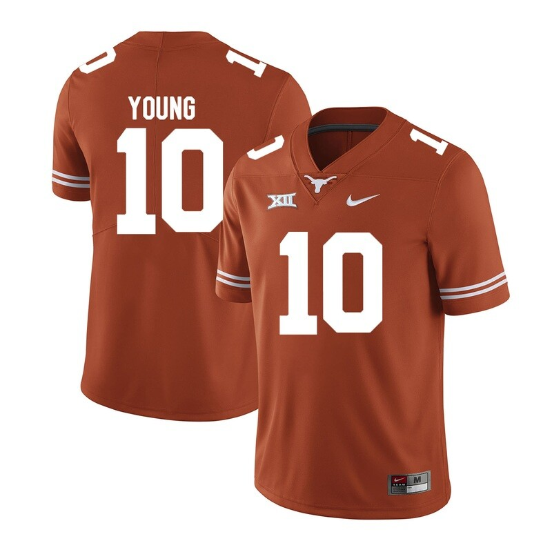 Texas Longhorns #10 Vince Young College Football Jersey Orange XII Patch