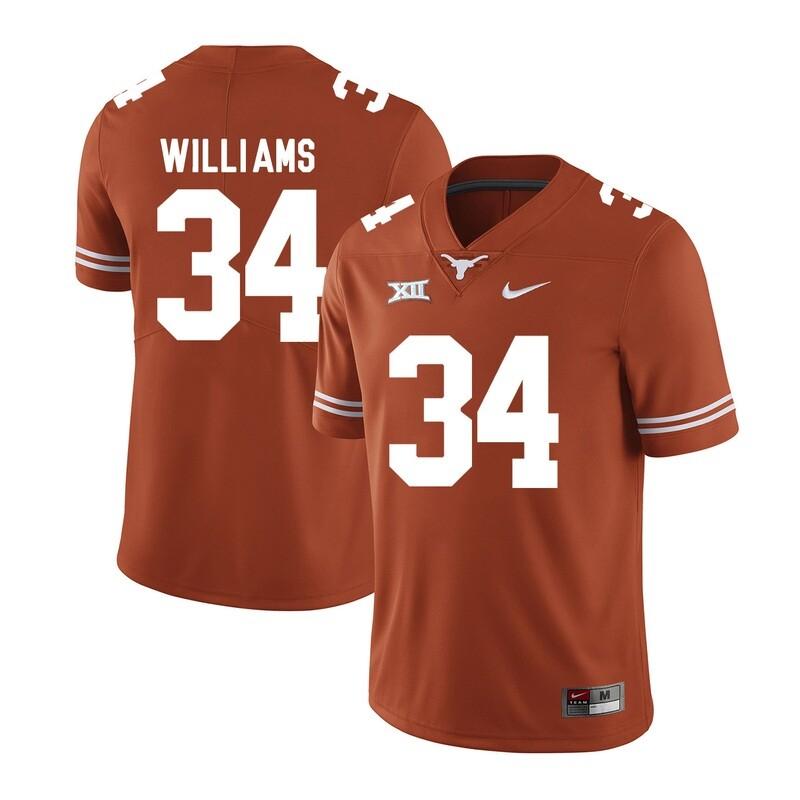Texas Longhorns #34 Ricky Williams College Football Jersey Dark Orange XII Patch