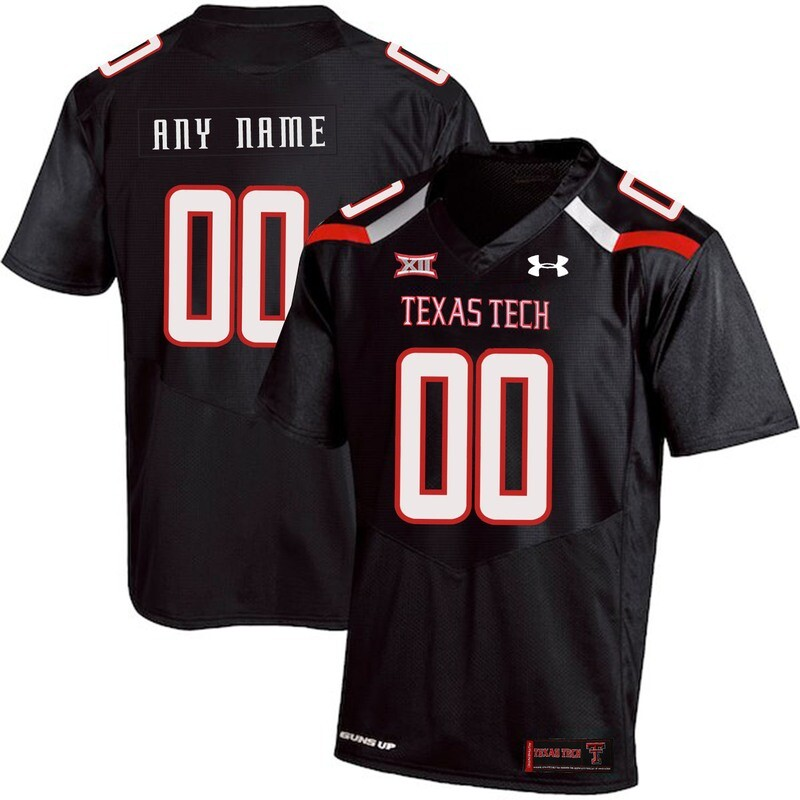 Texas Tech Custom Name and Number NCAA College Football Jersey Black