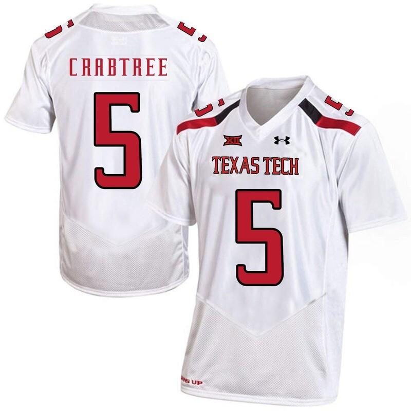 Texas Tech #5 Michael Crabtree NCAA College Football Jersey White