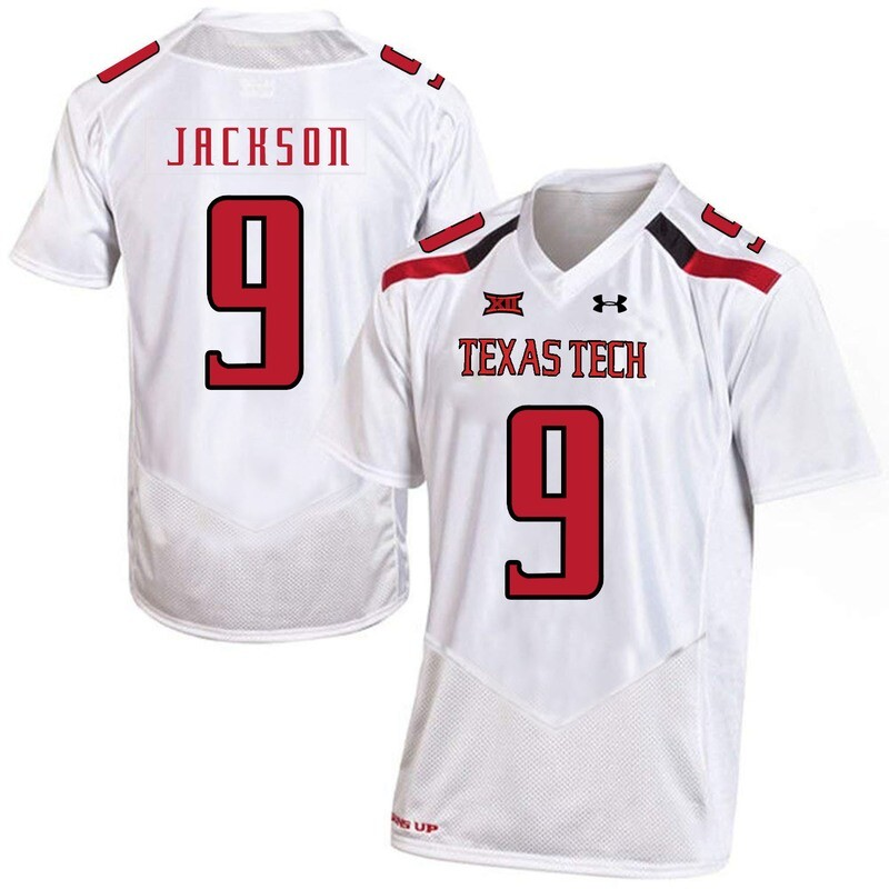 Texas Tech #9 Burning Jackson NCAA College Football Jersey White