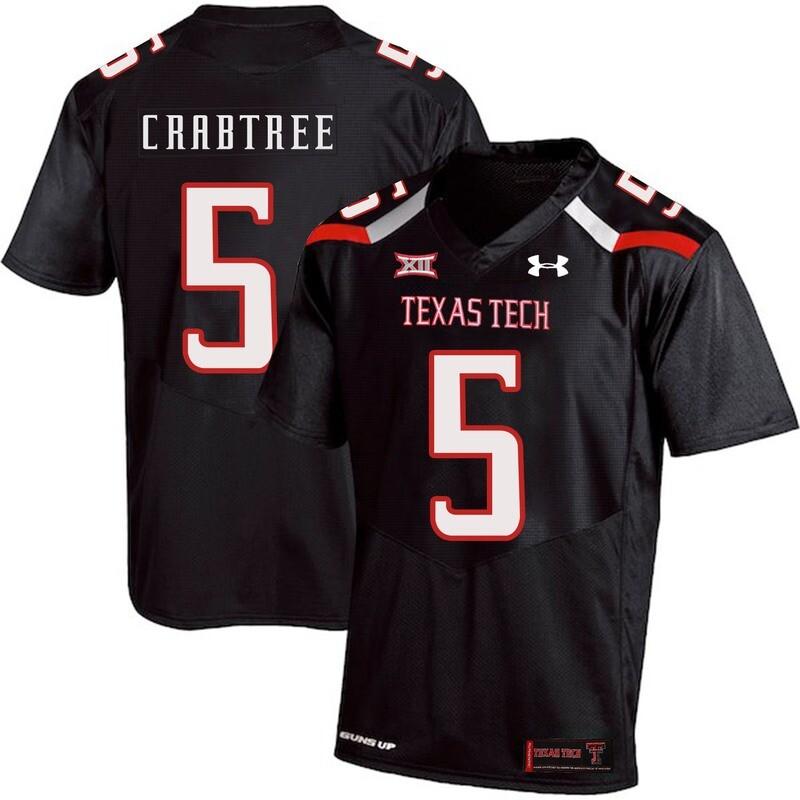 Texas Tech #5 Michael Crabtree NCAA College Football Jersey Black