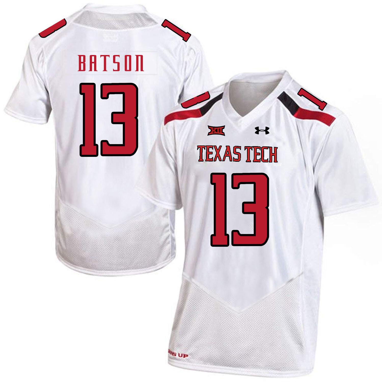 Texas Tech #13 Cameron Batson NCAA College Football Jersey White