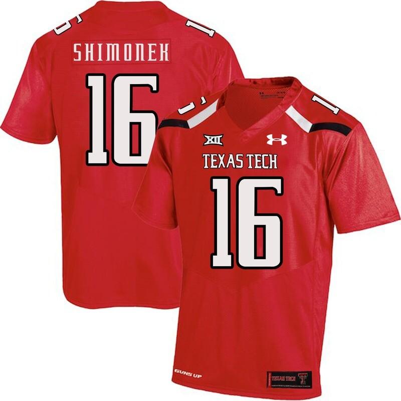 Texas Tech #16 Nic Shimonek NCAA College Football Jersey Red