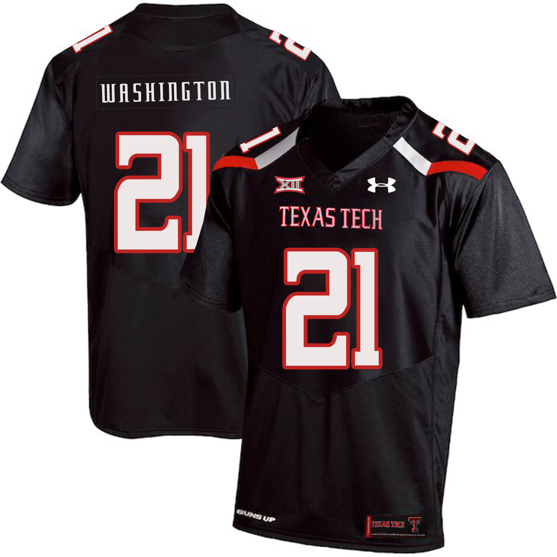 Texas Tech #21 DeAndre Washington NCAA College Football Jersey Black