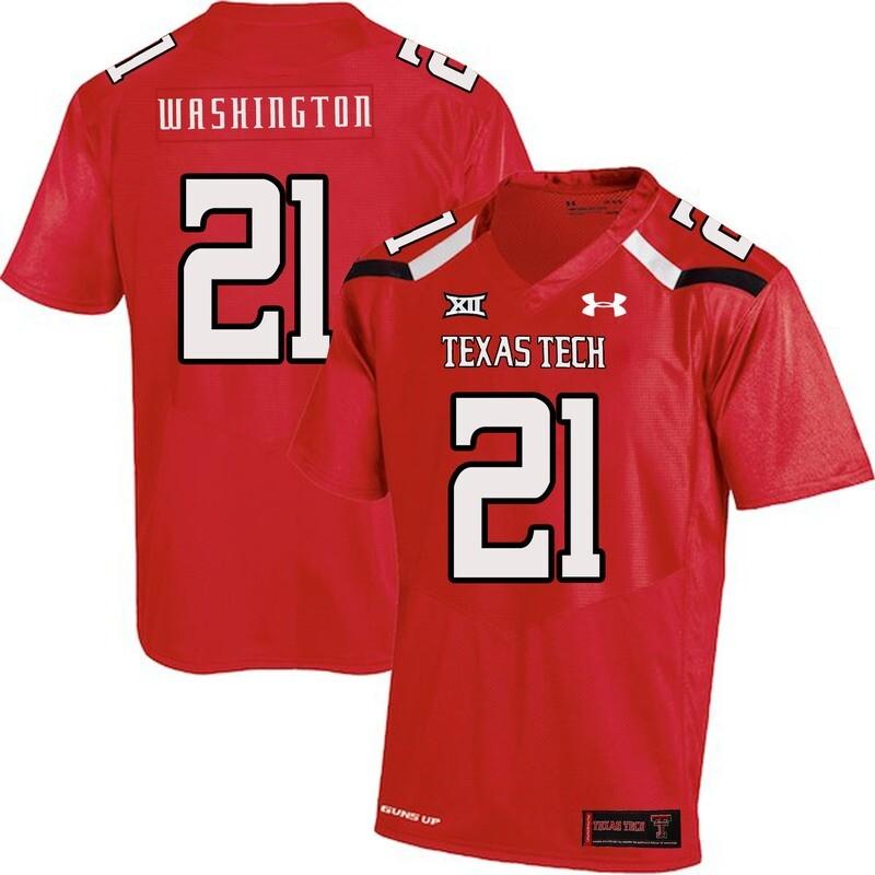 Texas Tech #21 DeAndre Washington NCAA College Football Jersey Red