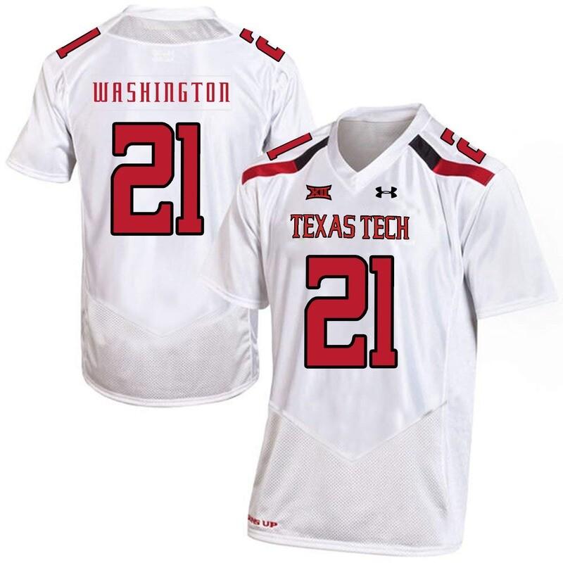 Texas Tech #21 DeAndre Washington NCAA College Football Jersey White