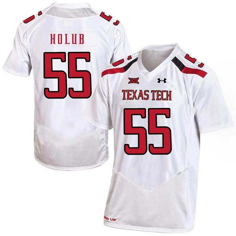 Texas Tech #55 EJ Holub NCAA College Football Jersey White