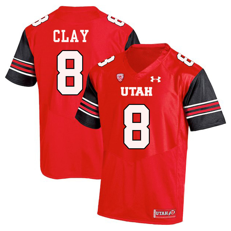 Utah Utes #8 Kaelin Clay NCAA College Football Jersey Red