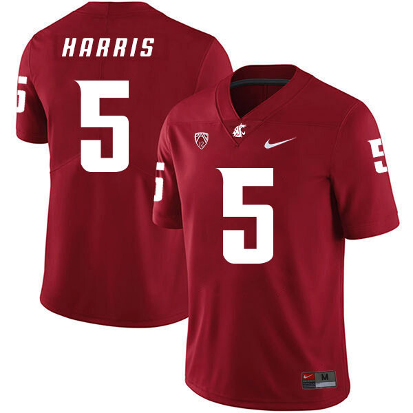 Washington State Cougars #5 Travell Harris Football Jersey Red