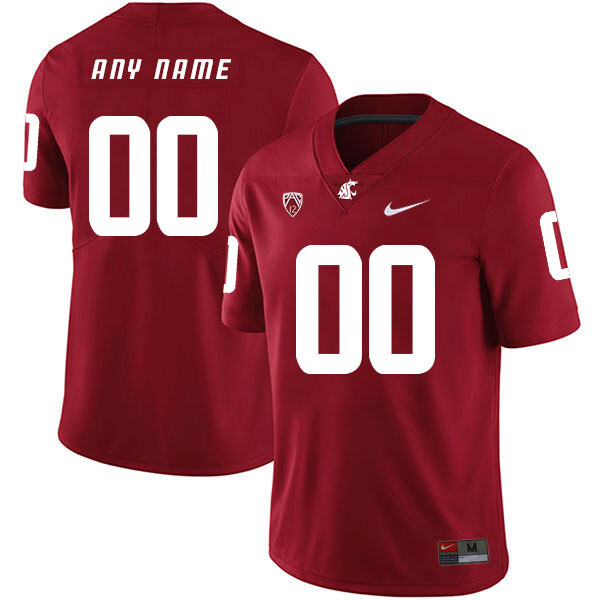 Washington State Cougars Custom Name Number Football Jersey Red