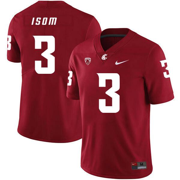 Washington State Cougars #3 Daniel Isom NCAA Football Jersey Red