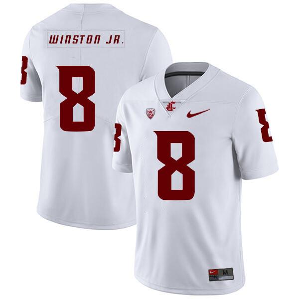 Washington State Cougars #8 Easop Winston Jr. Football Jersey White