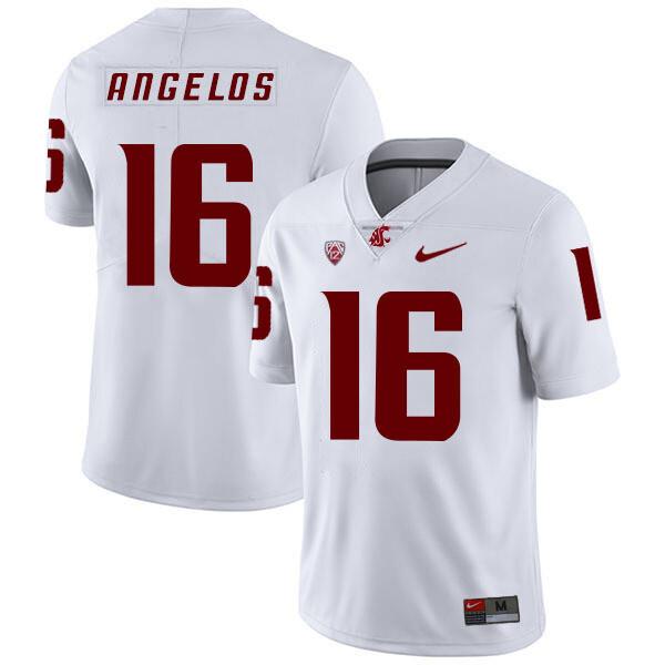 Washington State Cougars #16 Aaron Angelos NCAA Football Jersey White