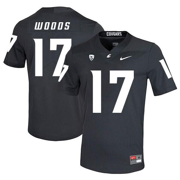 Washington State Cougars #17 Kassidy Woods NCAA Football Jersey Black