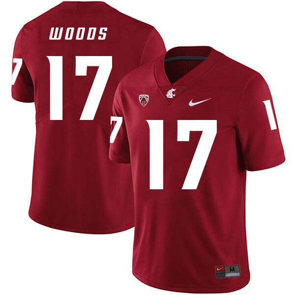 Washington State Cougars #17 Kassidy Woods NCAA Football Jersey Red