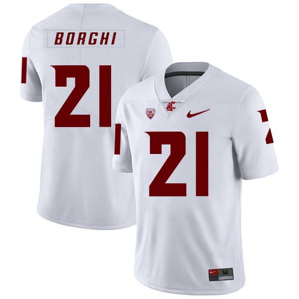 Washington State Cougars #21 Max Borghi NCAA Football Jersey White