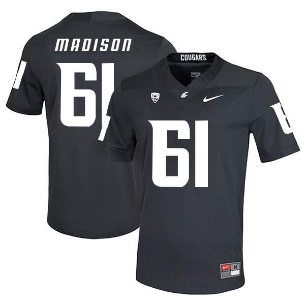Washington State Cougars #61 Cole Madison NCAA Football Jersey Black