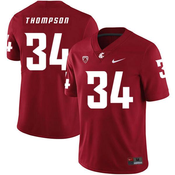Washington State Cougars #34 Jalen Thompson NCAA Football Jersey Red