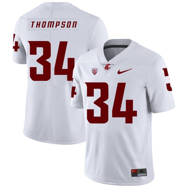 Washington State Cougars #34 Jalen Thompson NCAA Football Jersey White