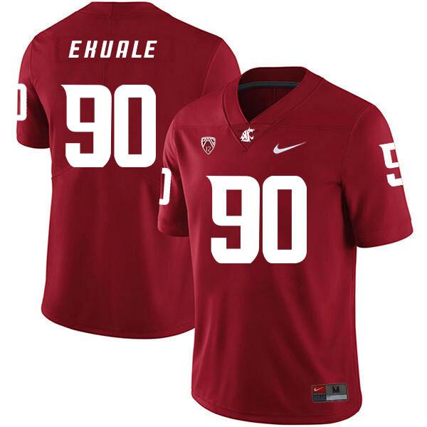Washington State Cougars #90 Daniel Ekuale NCAA Football Jersey Red