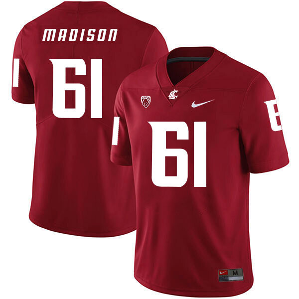 Washington State Cougars #61 Cole Madison NCAA Football Jersey Red