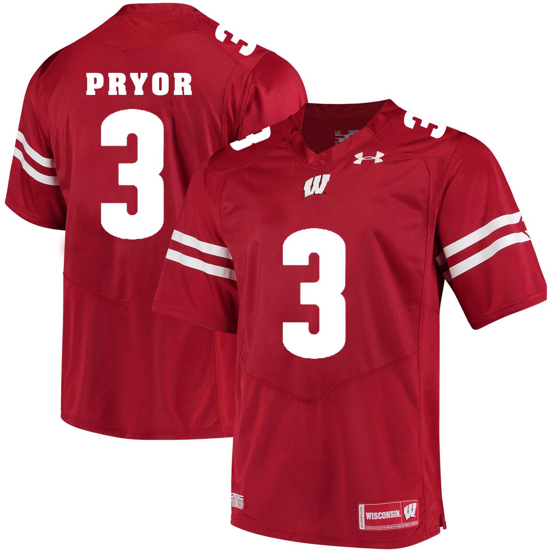 Wisconsin Badgers #3 Kendric Pryor College Football Jersey Red