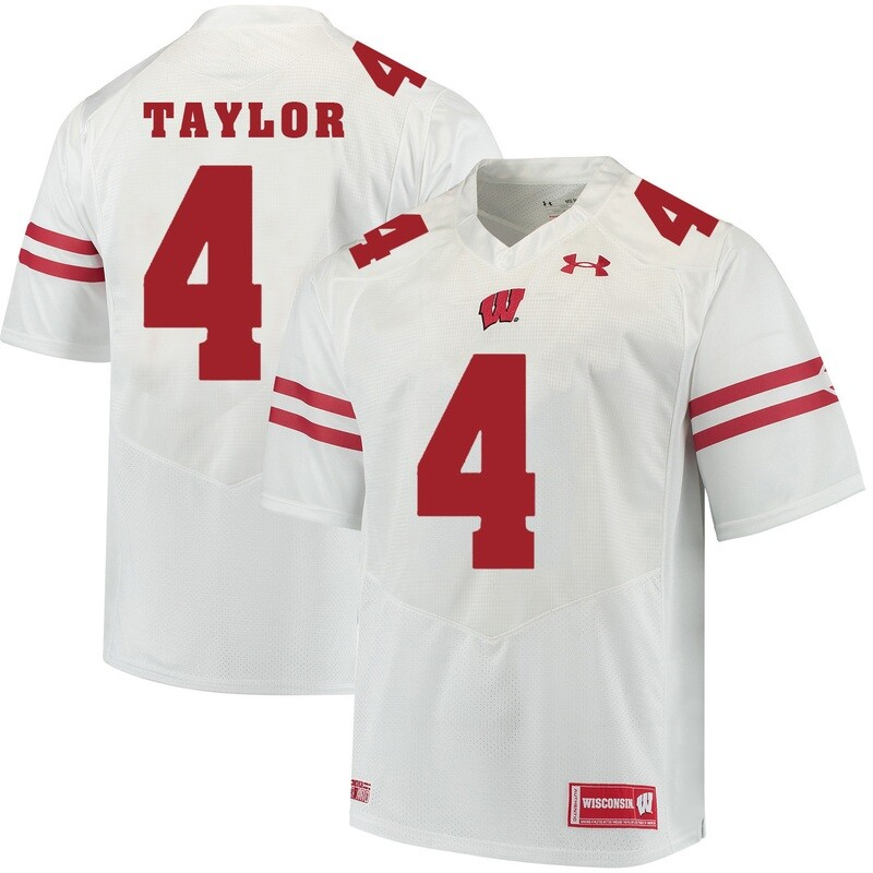 Wisconsin Badgers #4 AJ Taylor College Football Jersey White