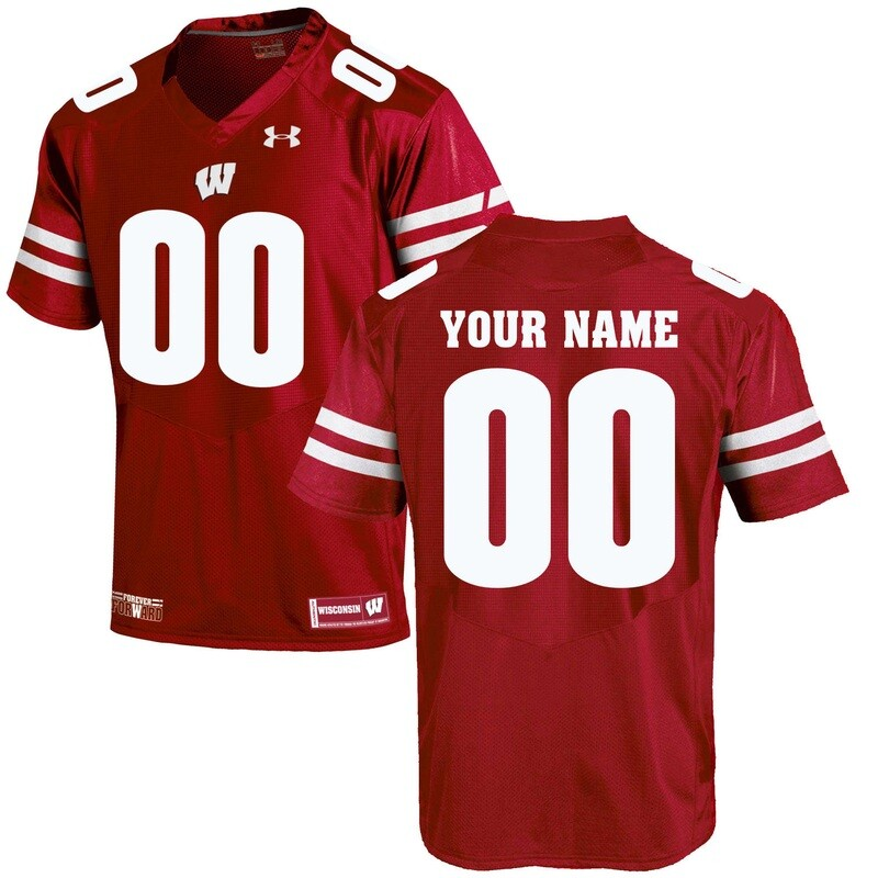 Wisconsin Badgers Custom Name Number College Football Jersey Red