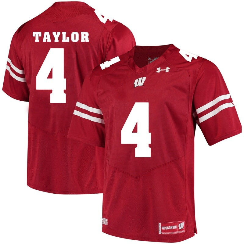 Wisconsin Badgers #4 AJ Taylor College Football Jersey Red