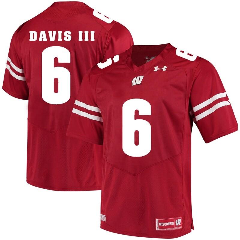 Wisconsin Badgers #6 Danny Davis III College Football Jersey Red