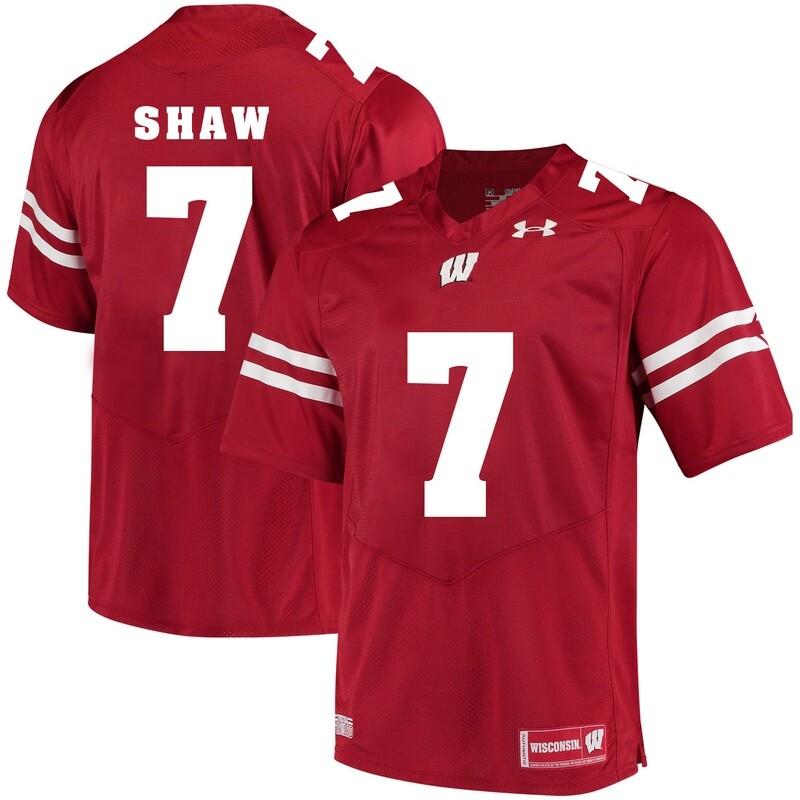 Wisconsin Badgers #7 Bradrick Shaw College Football Jersey Red