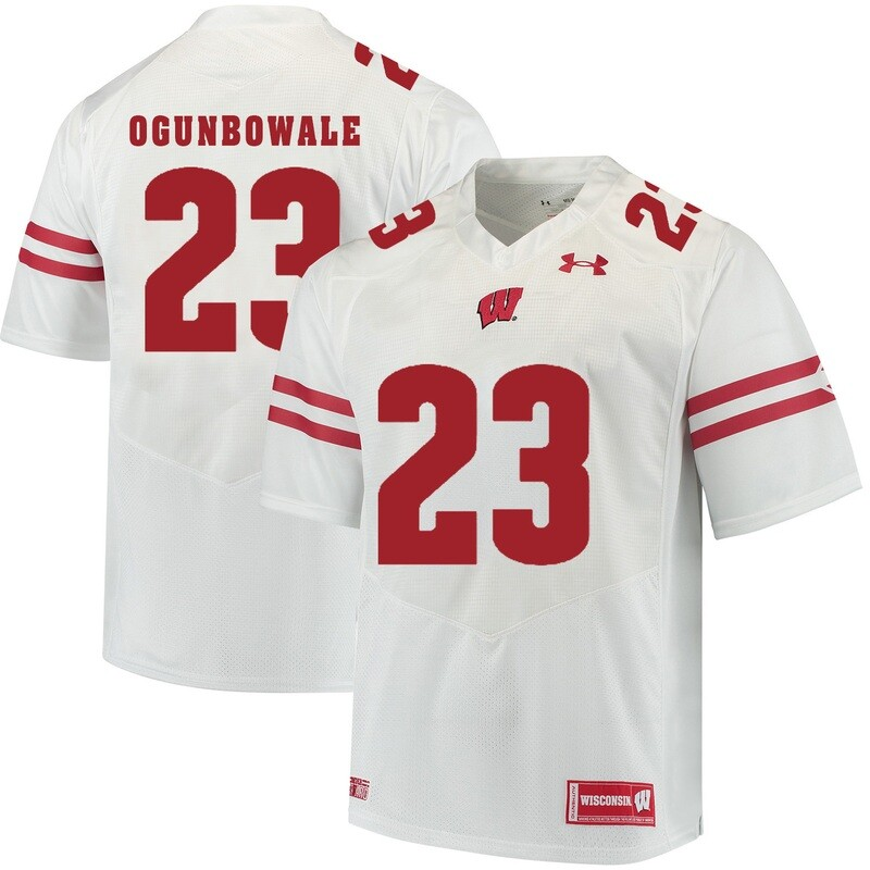 Wisconsin Badgers #23 Dare Ogunbowale College Football Jersey White