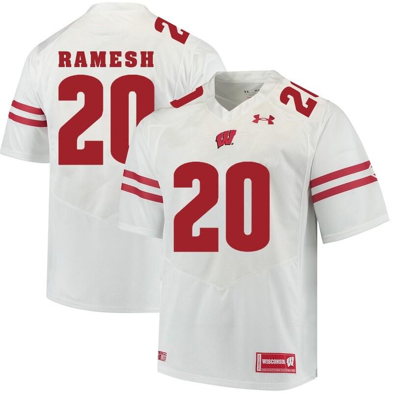 Wisconsin Badgers #20 Austin Ramesh College Football Jersey White