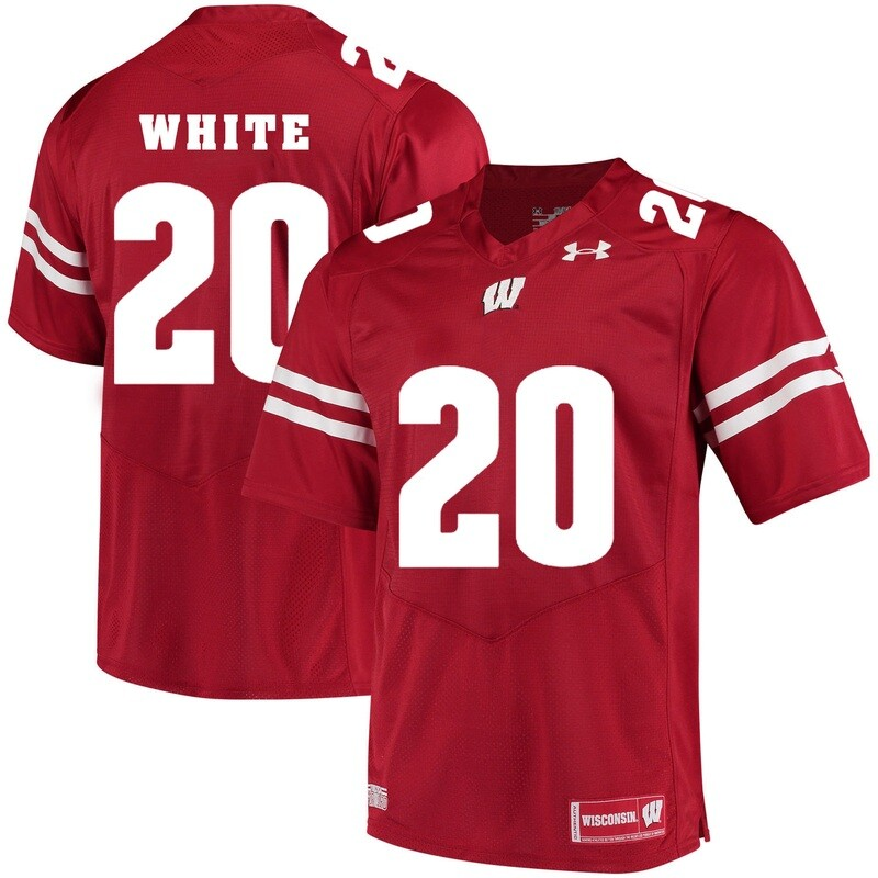 Wisconsin Badgers #20 James White College Football Jersey Red