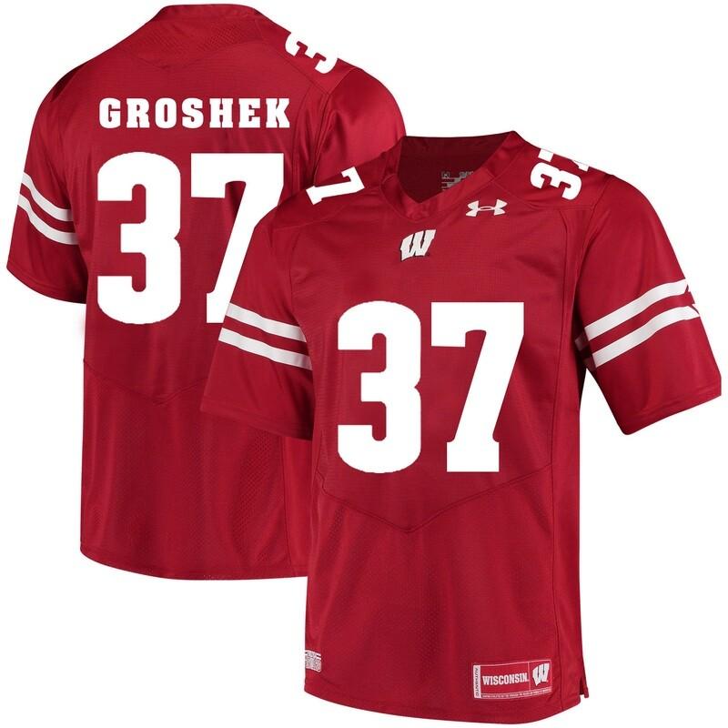 Wisconsin Badgers #37 Garrett Groshek College Football Jersey Red