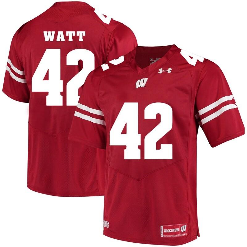 Wisconsin Badgers #42 TJ Watt College Football Jersey White Red