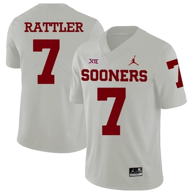 Oklahoma Sooners #7 Spencer Rattler Jersey White College Football