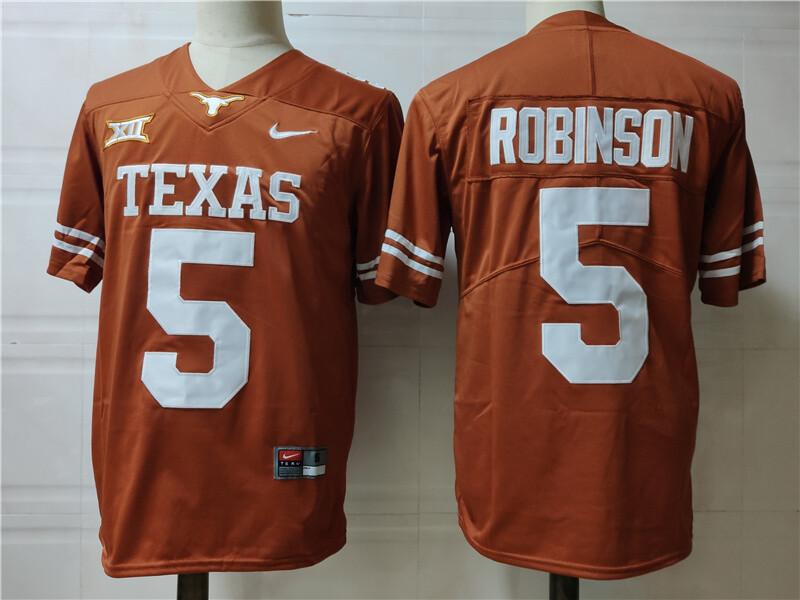 Texas Longhorns #5 Bijan Robinson Jersey College Football Orange