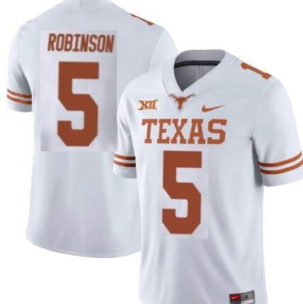 Texas Longhorns #5 Bijan Robinson College Football Jersey White With Patch