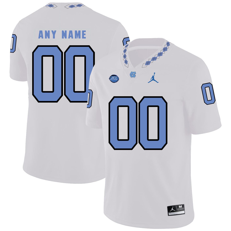 North Carolina Tar Heels Custom Name Number Football Jersey White