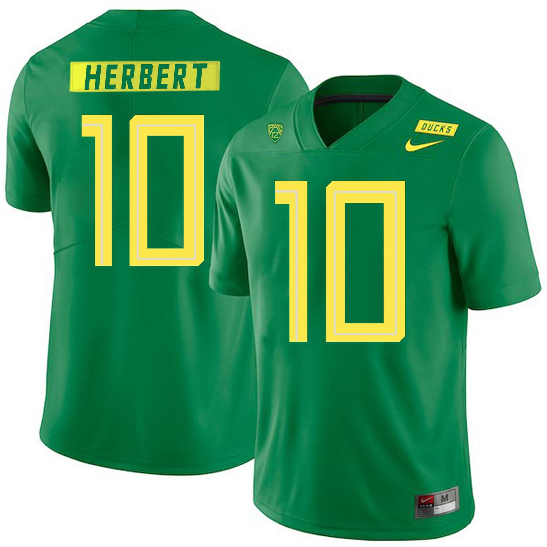 Oregon Ducks #10 Justin Herbert College Football Jersey Green