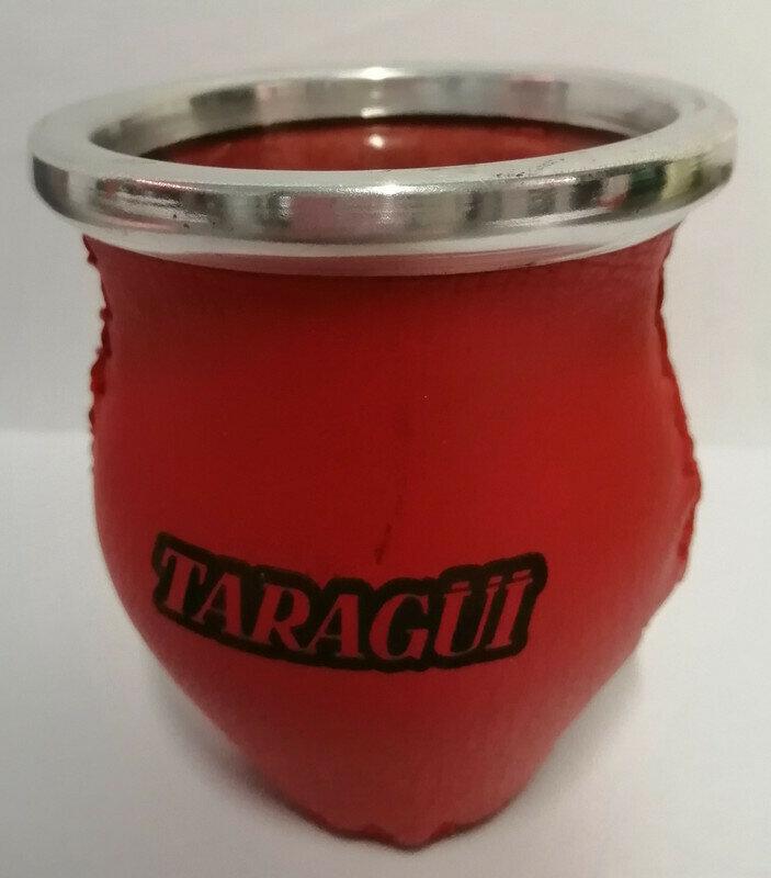 MATE TARAGÜI DE VIDRIO FORRADO EN CUERO