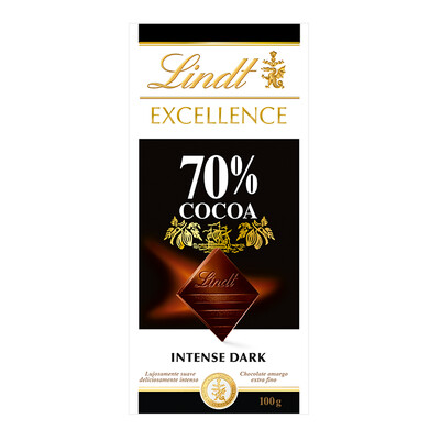 TABLETA LINDT EXCELLENCE 70%. COCOA 100 GR