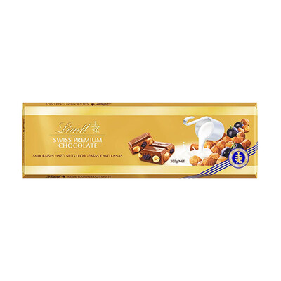 TABLETA LINDT MILK RAISINS HAZELNUT X 300 GR