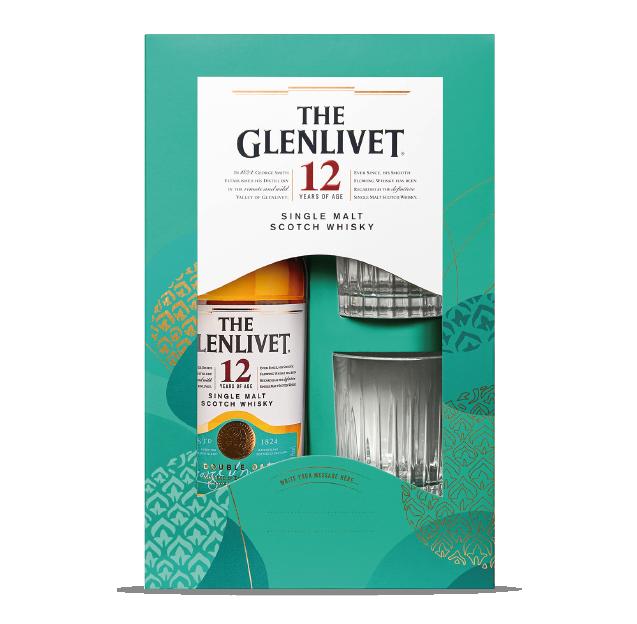 ESTUCHE WHISKY GLENLIVET 12 AÑOS+ 2 VASOS TEMPORADA 2020