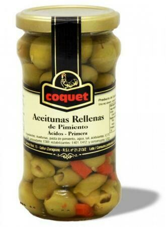 ACEITUNAS COQUET RELLENAS DE  PIMIENTO FRASCO X 314GR