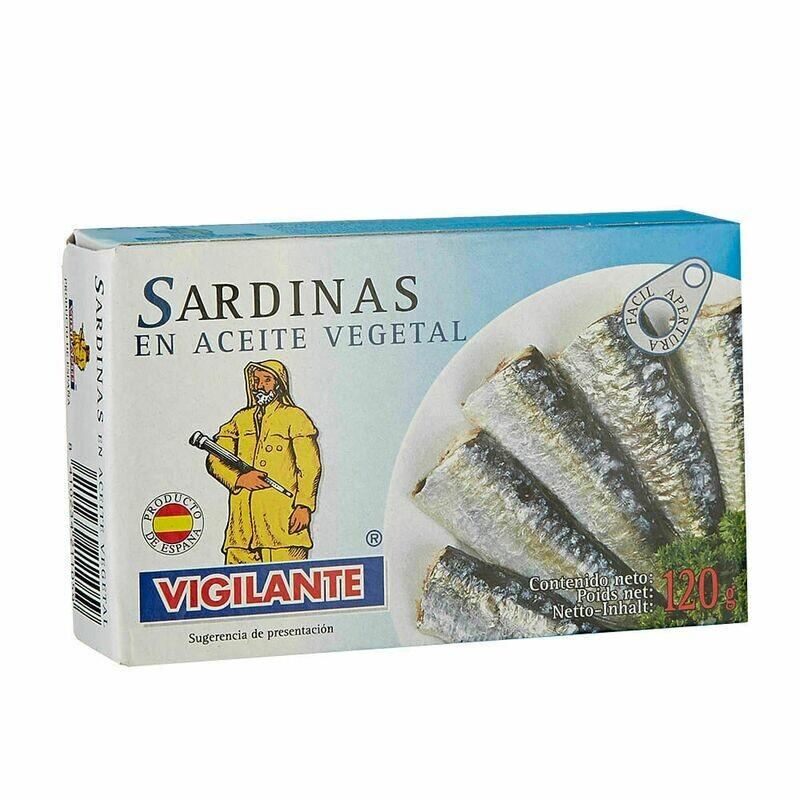 SARDINAS ESPAÑOLAS VIGILANTE EN ACEITE VEGETAL LATA X 120GR