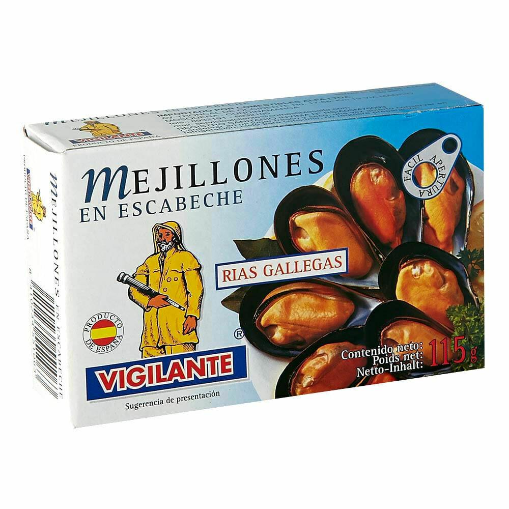 MEJILLONES ESPAÑOLES VIGILANTE EN ESCABECHE LATA X 115 GR